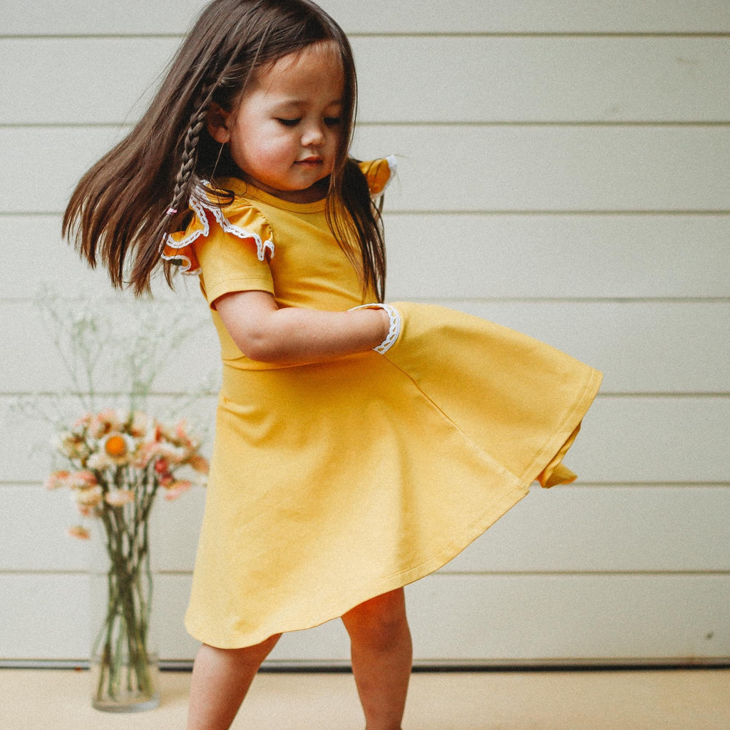 MUSTARD TWIRLY GIRL DRESS