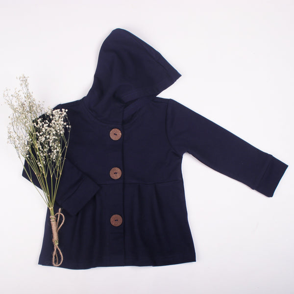 Navy button hoodie - Toots Kids