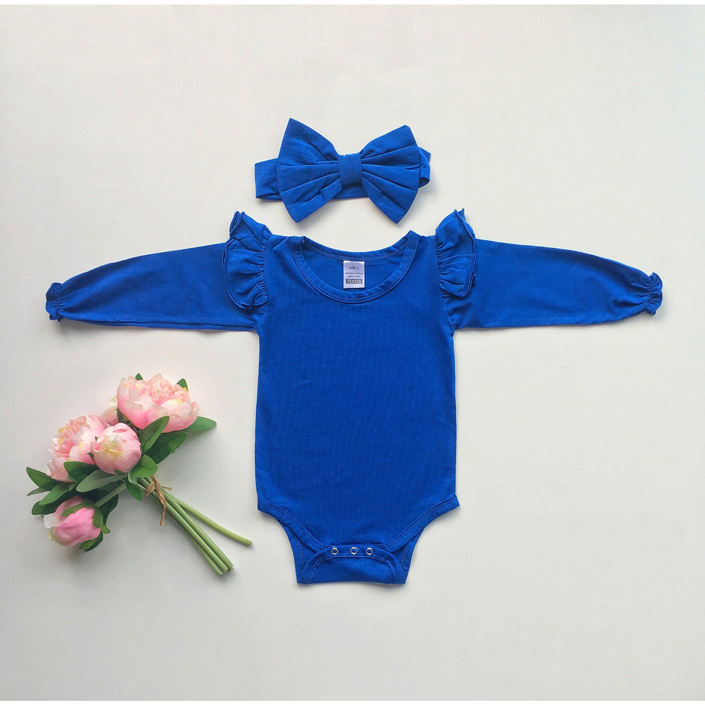 Blue Ruffled  long sleeve + headband