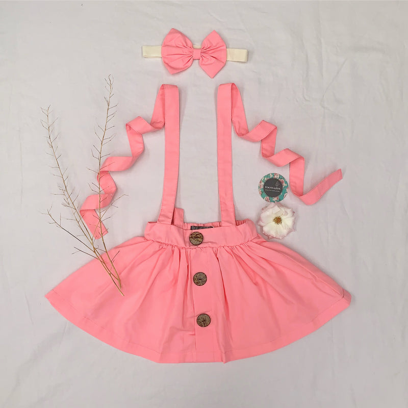 Flamingo Pink Suspender Skirt - Toots Kids