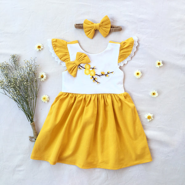 Mustard Blossom Dress - Toots Kids