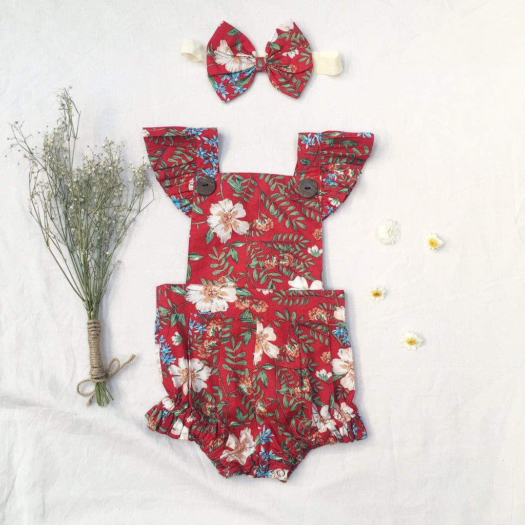Lucia  Button Romper - Toots Kids