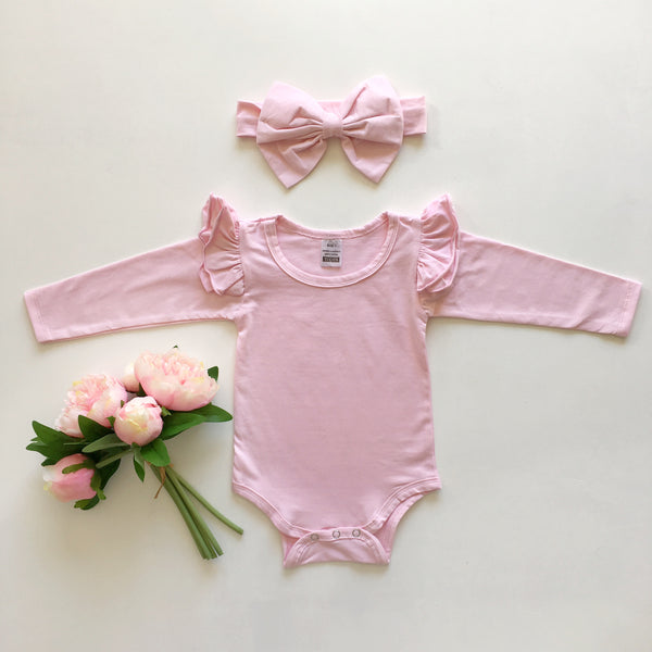Baby Pink Ruffled  long sleeve + headband