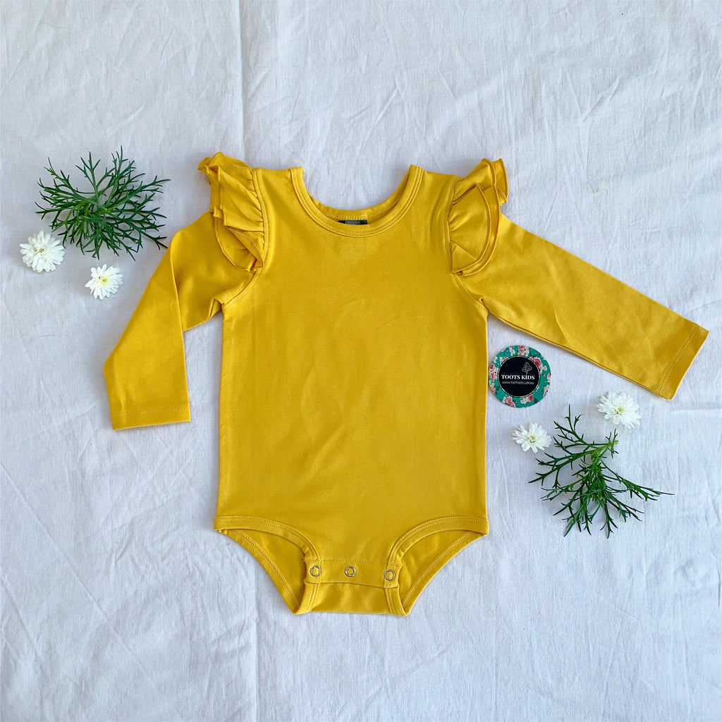 Mustard  long sleeve flutter - Toots Kids