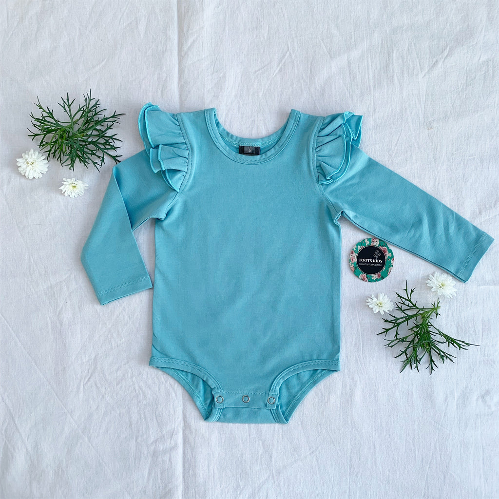 Dusty blue  long sleeve flutter - Toots Kids