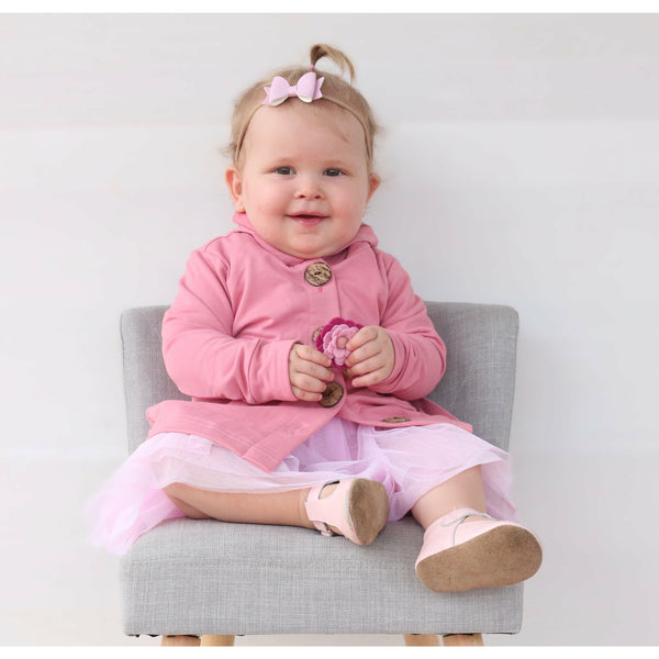 Champagne blush button hoodie - Toots Kids
