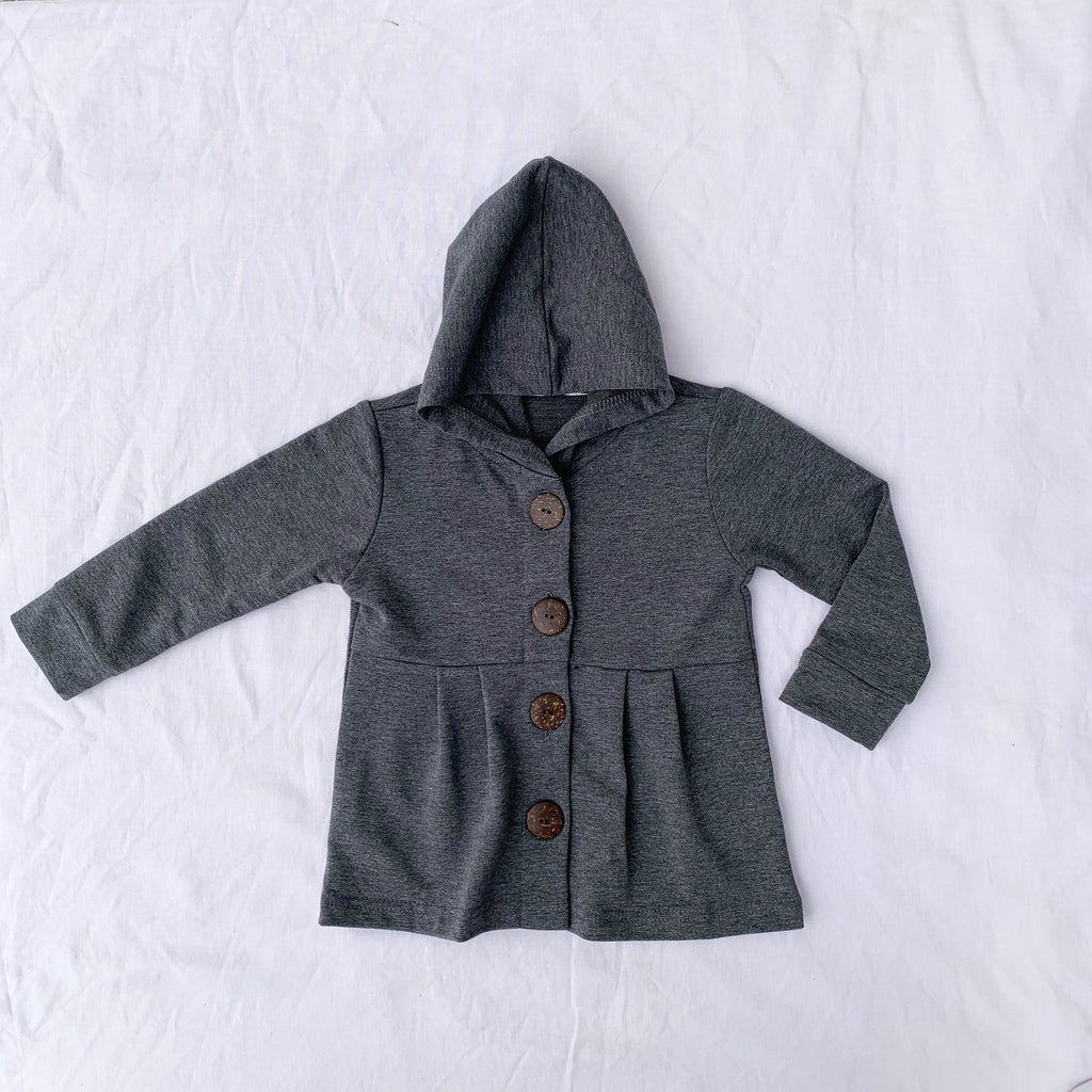 Dark Grey  Button Hoodie - Toots Kids