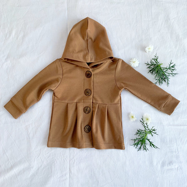 Light cocoa button hoodie - Toots Kids