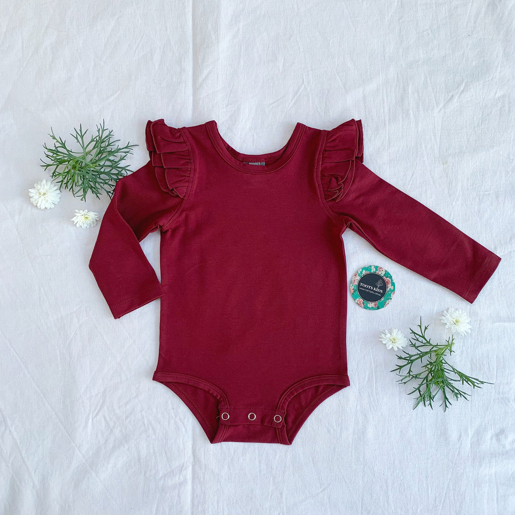 Merlot wine  long sleeve flutter - Toots Kids