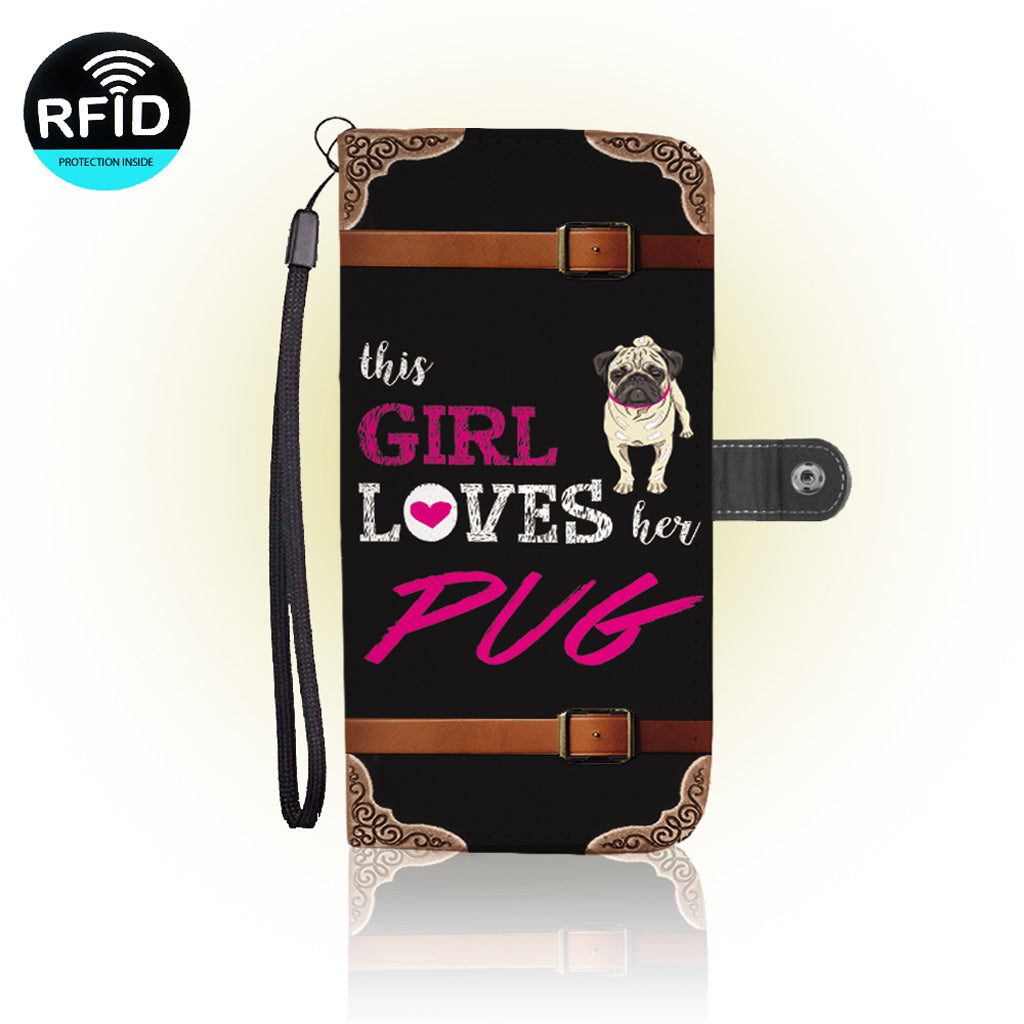Awesome Love Pugs Wallet Case
