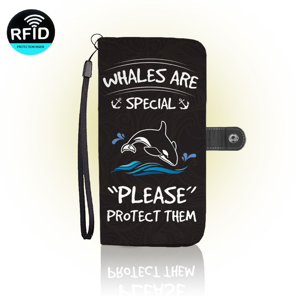 Awesome Save Whales Wallet Case