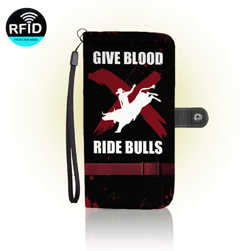 Awesome Bull Riding Wallet Case