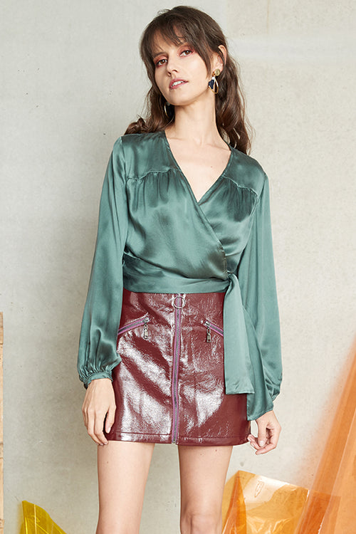 DISTILLED SILK WRAP BLOUSE
