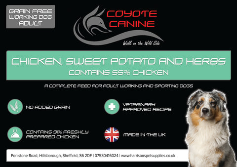 Coyote Canine Grain Free Chicken, Sweet Potato & Herbs - Harrison's Pet Supplies
