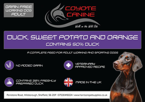 Coyote Canine Grain Free Duck, Sweet Potato & Orange - Harrison's Pet Supplies
