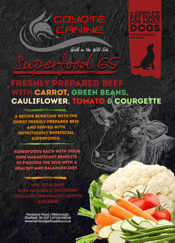 Coyote Canine Superfood Beef with Carrot, Green Beans, Cauliflower, Tomato & Courgette 12kg - Harrison's Pet Supplies