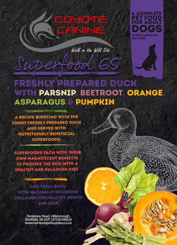 Coyote Canine Superfood Duck with Parsnip, Beetroot, Orange, Asparagus & Pumpkin 12kg - Harrison's Pet Supplies