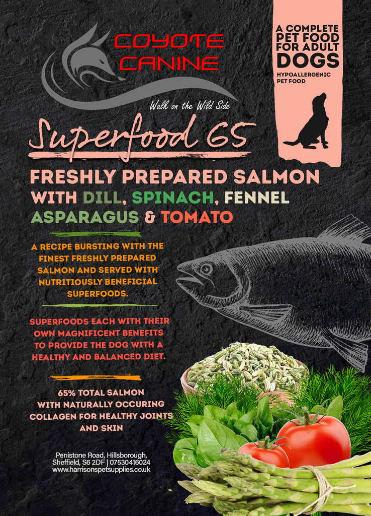 Coyote Canine Superfood Salmon with Dill, Spinach, Fennel, Asparagus and Tomato 12kg - Harrison's Pet Supplies