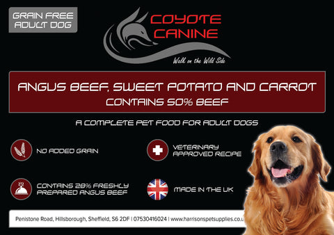 Coyote Canine Grain Free Angus Beef, Sweet Potato & Carrot - Harrison's Pet Supplies