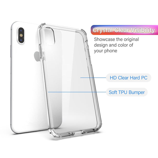 "BasAcc Crystal PC/TPU Rubber Case Cover [Anti-Scratch Coating] [Shockproof Corner] Protection with Soft TPU Bumper, Compatible with Apple iPhone XS/ X 5.8 inch (5.8""), Clear"