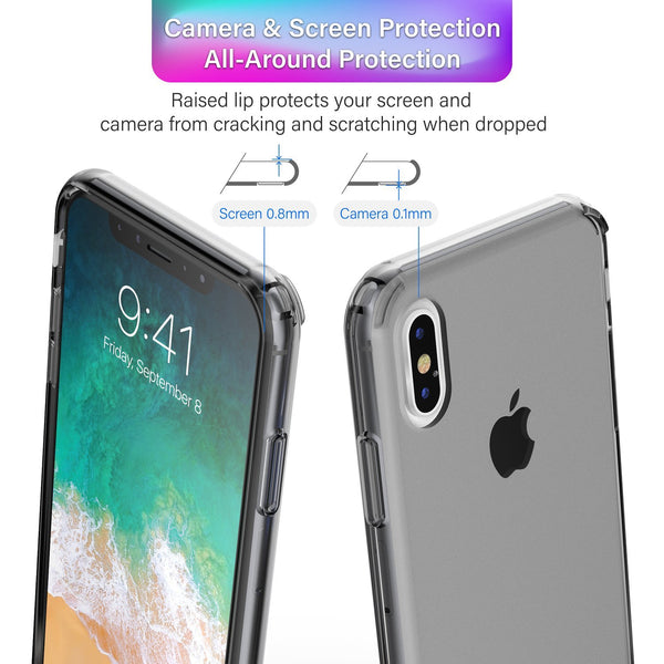 BasAcc Crystal PC/TPU Hybrid Phone Case Cover Compatible with Apple iPhone X, Black