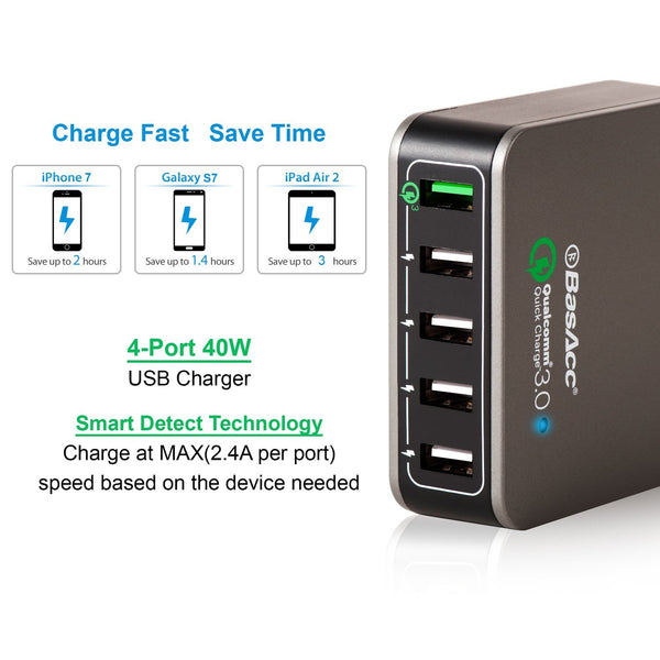 BasAcc Quick Charge QC 3.0 5-Port 8A USB Charging Station