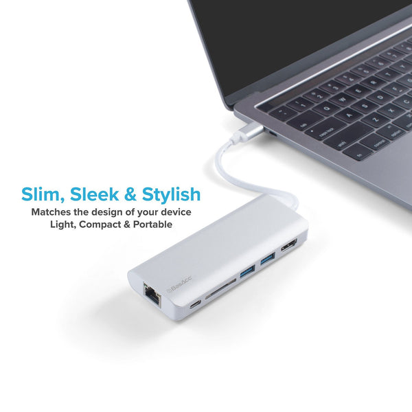 BasAcc 6-in-1 USB Type-C Multiport Adapter Hub, Silver