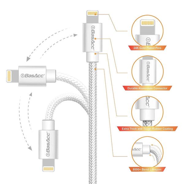 BasAcc Apple MFi 8 Pin Lightning to USB Cable, Silver