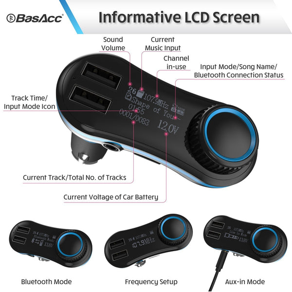 Basacc Wireless In-Car Bluetooth FM Transmitter w/ 2 2.1 A USB Ports, Blue