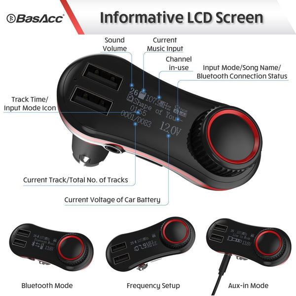Basacc Wireless In-Car Bluetooth FM Transmitter w/ 2 2.1 A USB Ports, Red