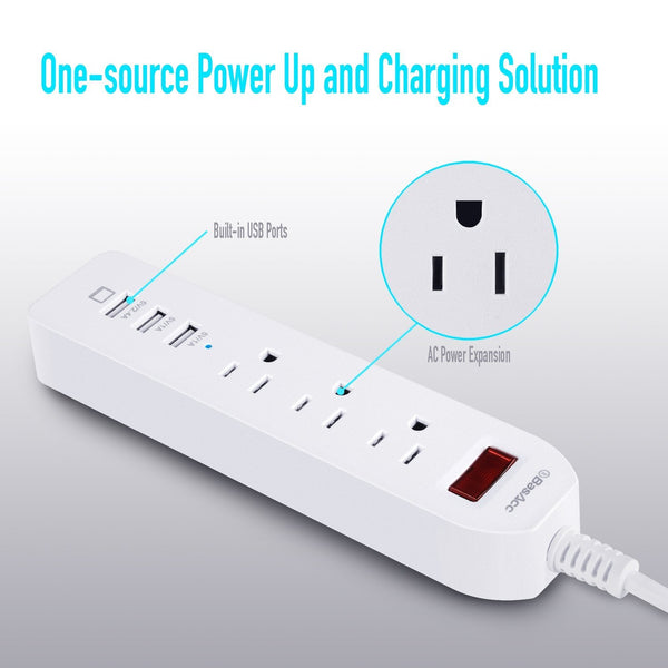 BasAcc 3-Outlet Power Strip 3-Port 3.4 A USB Charging Station with 5.9ft Cord, White