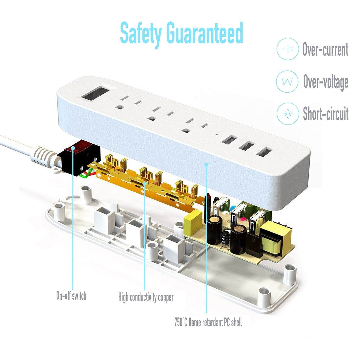 Basacc 3 Outlet Power Strip Hub W Usb 34 Charging Ports Charger Circuit