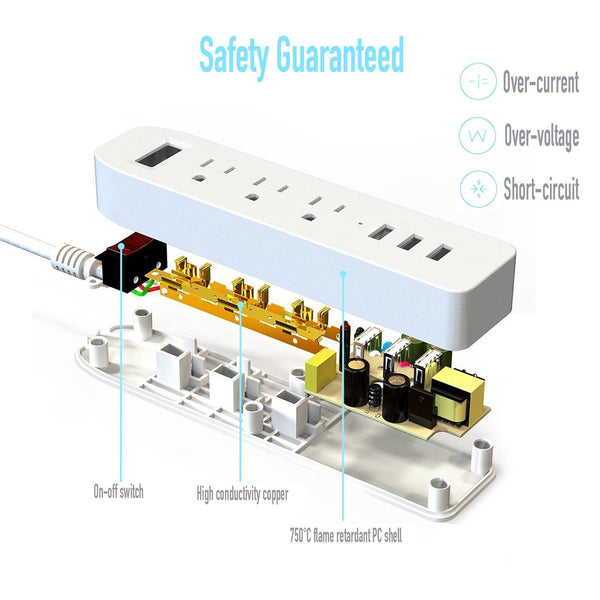 BasAcc 3-Outlet Power Strip Hub w/ 3-USB 3.4 USB Charging Ports