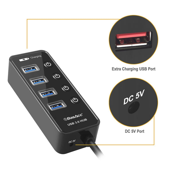 BasAcc 4 Port Super Speed USB 3.0 Hub