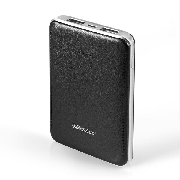 BasAcc 6000mAh USB Power Bank with 4 LED, Black/Silver Frame