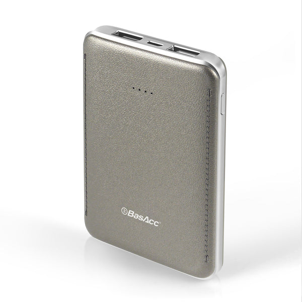 BasAcc 6000mAh USB Power Bank with 4 LED, Silver Frame