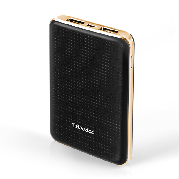 BasAcc 6000mAh USB Power Bank with 4 LED, Black/Rose Gold Frame