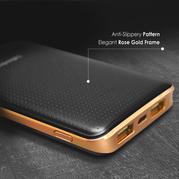 BasAcc 6000mAh USB Power Bank with 4 LED, Rose Gold Frame