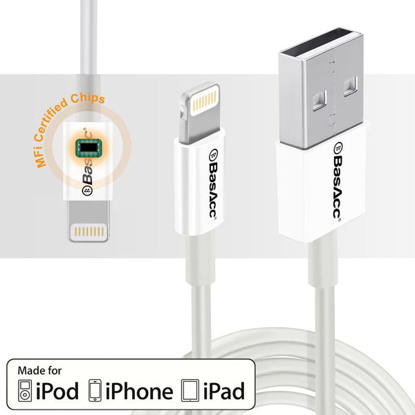 BasAcc 3.3 feet MFI 8 Pin Lightning to USB Cable, White