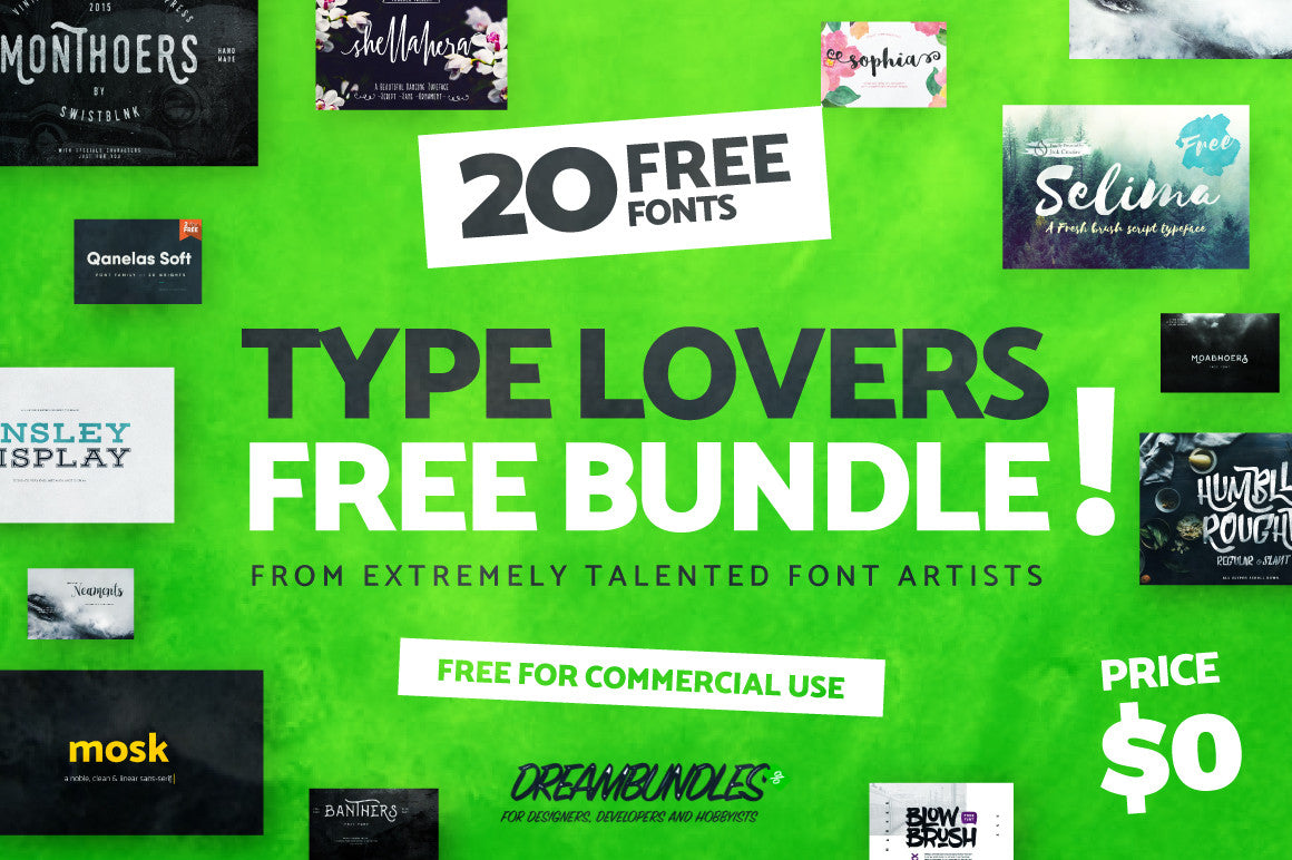 20 Best Free Fonts in 2016 - Type Lovers Free Bundle