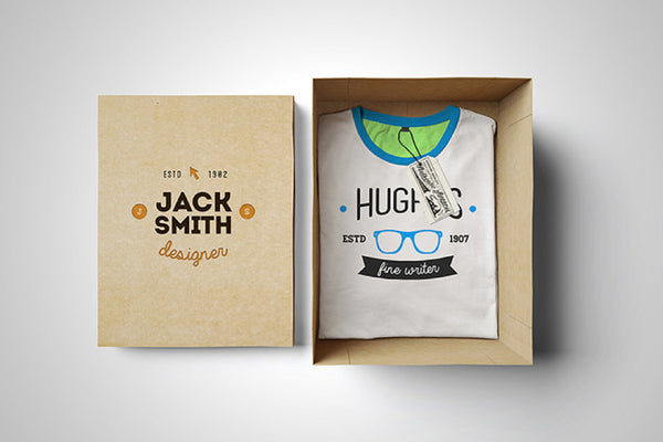 Free PSD T-Shirt Mockup with a Cardboard Box