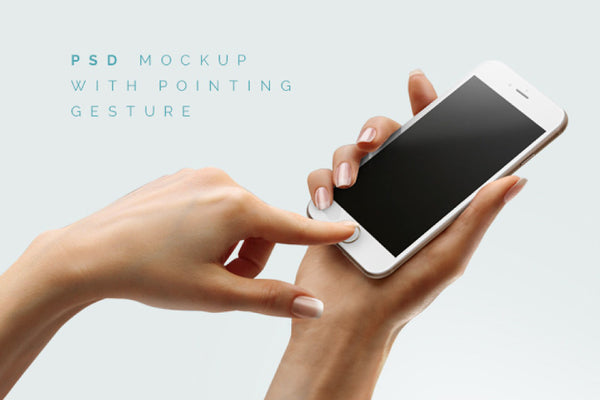 iPhone 6 in-hand Free PSD Mockup