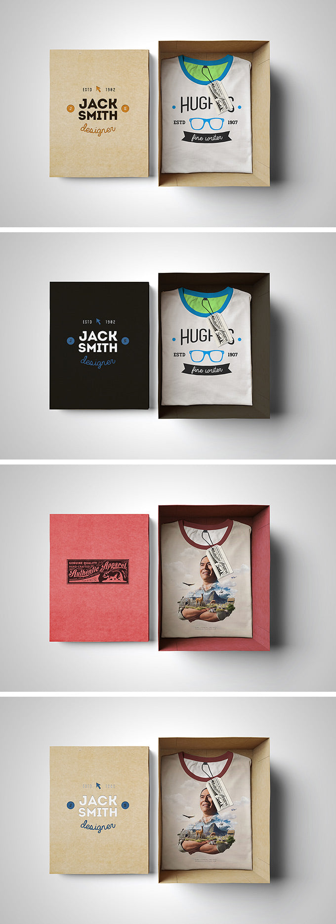 Free PSD T-Shirt Mockup with a Cardboard Box - CreativeBooster