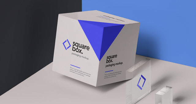 free square box packaging and glass psd mockup creativebooster