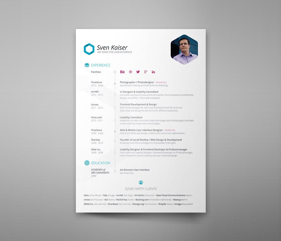 free clean white resume template in photoshop  psd  format