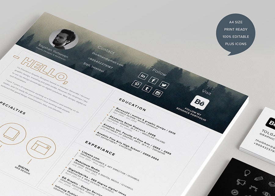 Free Modern And Clean Resume Template With Icons In Illustrator AI Format