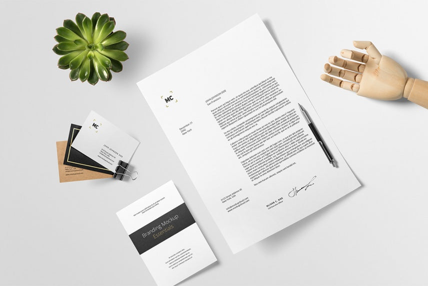 Free Professional Branding Mockup Scene with Business Cards and ...