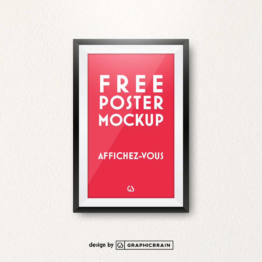 Free Poster Frame On Authentic Wall Mockup Creativebooster