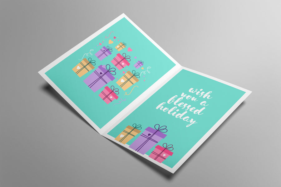 Free Opened Invitation Or Greeting Card Mockup