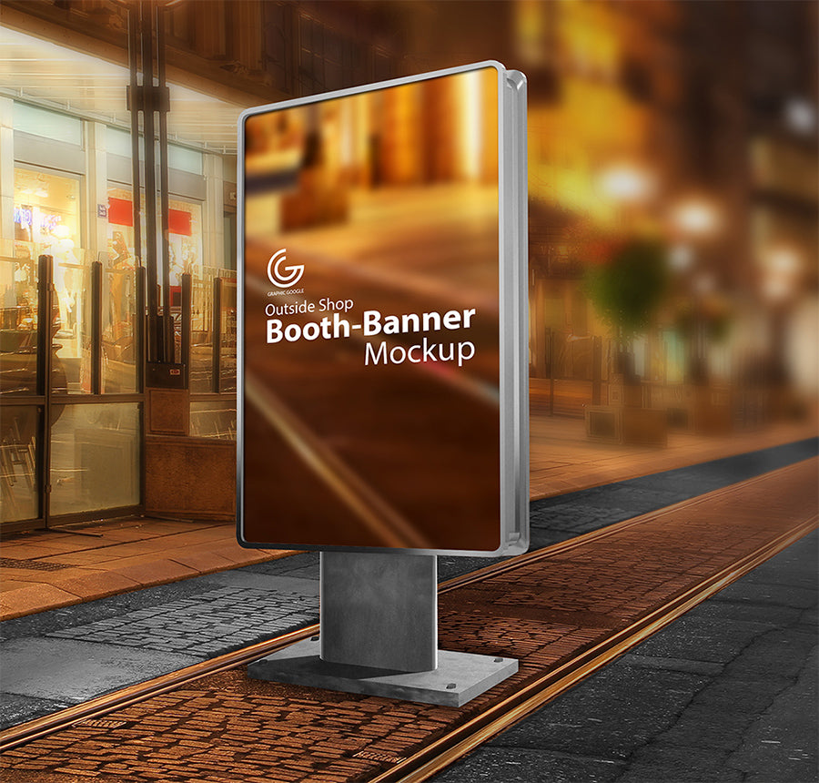 Free Outside Shop Booth Banner Sign Mockup - CreativeBooster
